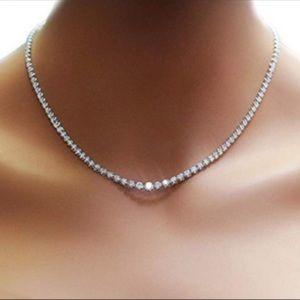 42tcw Platinum Plated Diamonelle Tennis Necklace